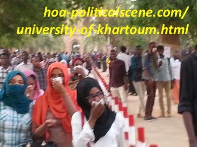 Khartoum University students girls and boys covering faces from gas.