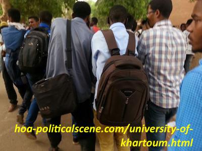 The University of Khartoum: students demonstrating to stop selling the university sight to investors.