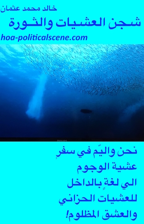 hoa-politicalscene.com/arabic-hoa.html - Arabic HOA: Scripture of poem from Evening Yearning and Revolution by poet and journalist Khalid Mohammed Osman on fish underwater.
