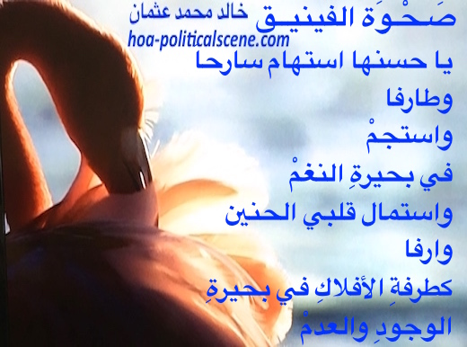 hoa-politicalscene.com/arabic-hoa.html - Arabic HOA: Poem from Rising of the Phoenix by poet and journalist Khalid Mohammed Osman on Beautiful swan.