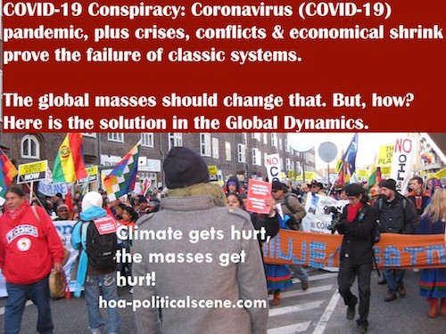 hoa-politicalscene.com/covid-19-conspiracy.html - COVID-19 Conspiracy: COVID-19, plus crises, conflicts & economical shrink prove the failure of classic systems. Global mass must change that.