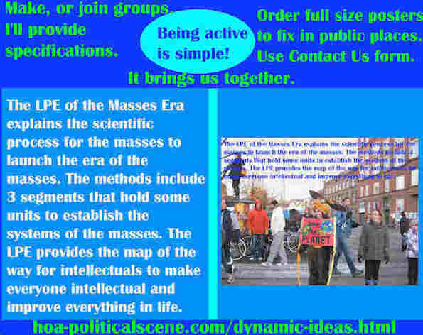hoa-politicalscene.com/dynamic-ideas.html - Dynamic Ideas: LPE of Masses Era explains scientific process for masses to launch the era of masses. Methods include 3 segments that hold some units.