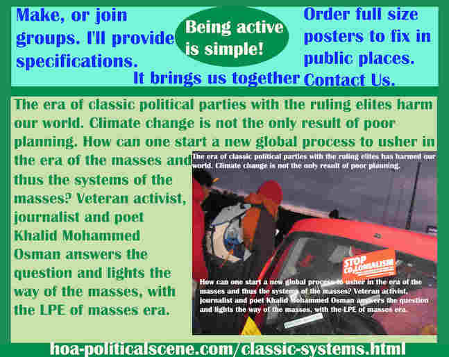 hoa-politicalscene.com/classic-systems.html - Classic Systems: Classic political parties ruling elites harm our world. Climate change isn't the only result of poor planning.
