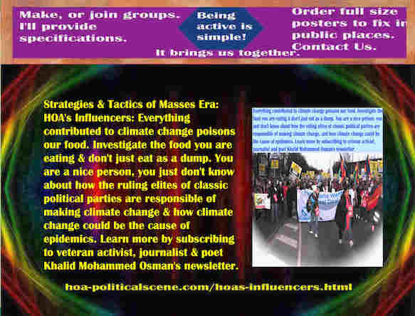 hoa-politicalscene.com/hoas-influencers.html - Strategies & Tactics of Masses Era: HOA's Influencers: Everything contributed to climate change poisons our food. Check food you are eating.