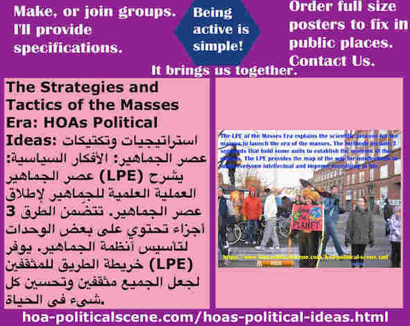 hoa-politicalscene.com/hoas-political-ideas.html - Strategies & Tactics of Masses Era: HOAs Political Ideas: Masses Era LPE 3 segments has systematical units to establish the systems of the masses.