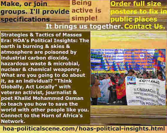 hoa-politicalscene.com/hoas-political-insights.html - Strategies & Tactics of Masses Era: HOA's Political Insights: Earth burning, sky, atmosphere poisoned by carbon, waste & microbial weaponry.