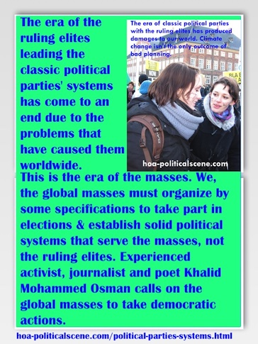 hoa-politicalscene.com/political-parties-systems.html - Political Parties Systems: Era of classic political parties' systems has come to an end due to the problems that have caused them worldwide.