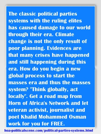 hoa-politicalscene.com/political-parties-systems.html - Political Parties Systems: Classic political parties' ruling elites damage our world. Climate change isn't the only result of poor planning.