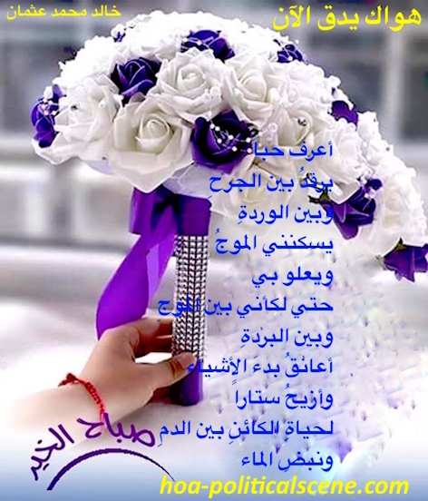 Your Love is Beating Now by poet & journalist Khalid Mohammed Osman on beautiful bouquet of flowers.