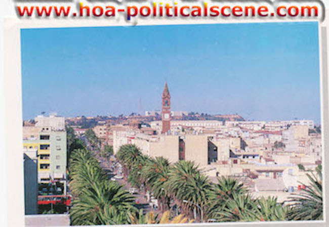hoa-politicalscene.com/eritrea-country-profile.html - Overlook - view from the Eritrean capital city of Asmara, at central Asmara on the main Independence Street.