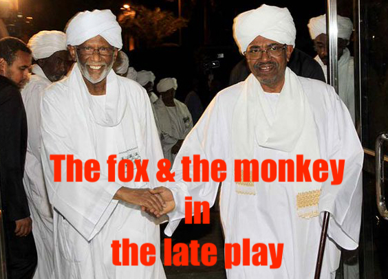hoa-politicalscene.com/nif.html - NIF: Hassan Abdullah al Turabi, the fox of the Muslim Brothers in Sudan and Omar al Bashir, the monkey in the late theatrical play in Sudan.