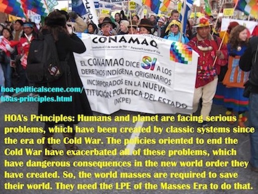 hoa-politicalscene.com/hoas-principles.html - HOA's Principles: Humans and planet are facing serious problems, which have been created by classic systems since the era of the Cold War.