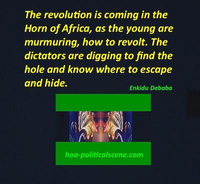 hoa-politicalscene.com/horn-of-africas-revolution-is-coming.html - Horn of Africa's Revolution is Coming by Ethiopian writer Enkidu Debaba, a HOA Political Scene's pen name.