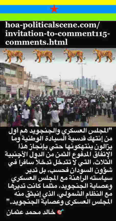 hoa-politicalscene.com/invitation-to-comment115-comments.html: Invitation to Comment 115 Comments: Political agreement between illegitimate Transitional Military Council & Power of Freedom & Change to establish governance structures and institutions in Sudan 82.