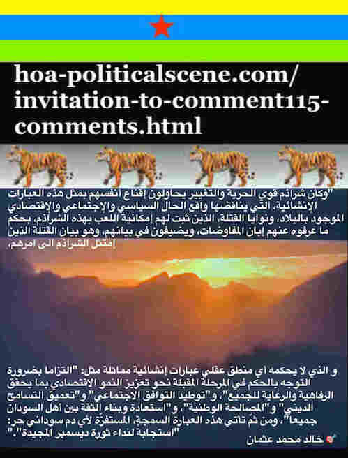 hoa-politicalscene.com/invitation-to-comment115-comments.html: Invitation to Comment 115 Comments: Political agreement between illegitimate Transitional Military Council & Power of Freedom & Change to establish governance structures and institutions in Sudan 44.