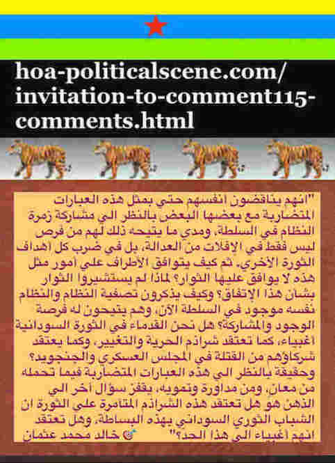 hoa-politicalscene.com/invitation-to-comment115-comments.html: Invitation to Comment 115 Comments: Political agreement between illegitimate Transitional Military Council & Power of Freedom & Change to establish governance structures and institutions in Sudan 55.