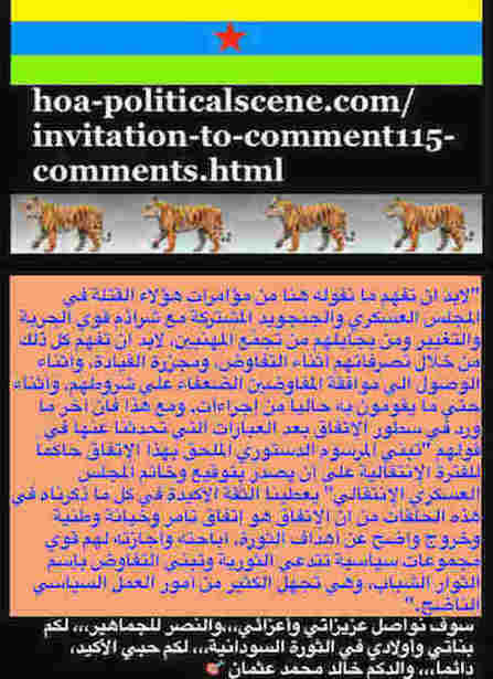 hoa-politicalscene.com/invitation-to-comment115-comments.html: Invitation to Comment 115 Comments: Political agreement between illegitimate Transitional Military Council & Power of Freedom & Change to establish governance structures and institutions in Sudan 67.