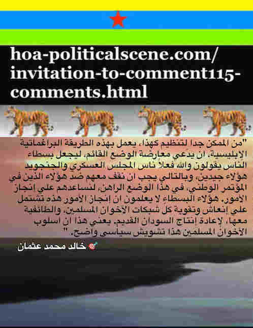 hoa-politicalscene.com/invitation-to-comment115-comments.html: Invitation to Comment 115 Comments: Political agreement between illegitimate Transitional Military Council & Power of Freedom & Change to establish governance structures and institutions in Sudan 69.