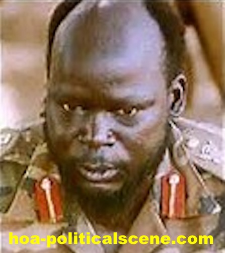 hoa-politicalscene.com/john-garang-to-sadiq-al-mahadi.html - John Garang to Sadiq al Mahadi: Garang in the bush military uniform.