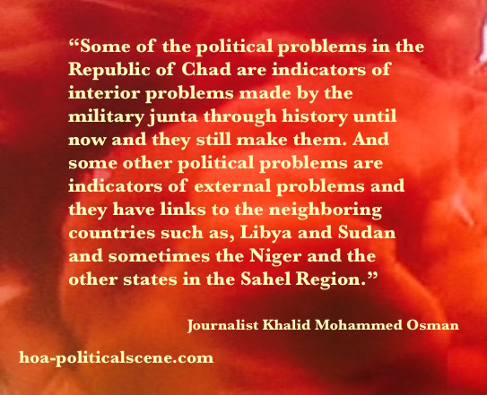 Write about Chad: The Indicators of the interior and exterior political problems of Chad.