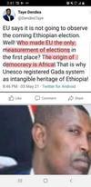 Shameful Tweet by a higher Oromo official of Ethiopia against European Union