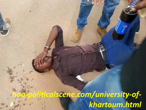 hoa-politicalscene.com/university-of-khartoum.html - University of Khartoum: Student down by security gas and students colleagues trying to help.