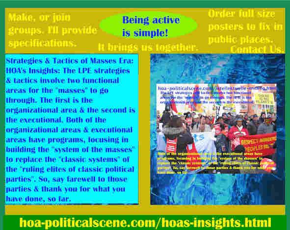 hoa-politicalscene.com/hoas-insights.html - Strategies & Tactics of Masses Era: HOA's Insights: LPE strategies and tactics involve two functional areas for the