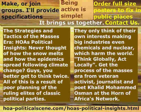 hoa-politicalscene.com/hoas-political-insights.html - Strategies & Tactics of Masses Era: HOA's Political Insights: Never thought of how the snow melts & how epidemics spread following climate change?