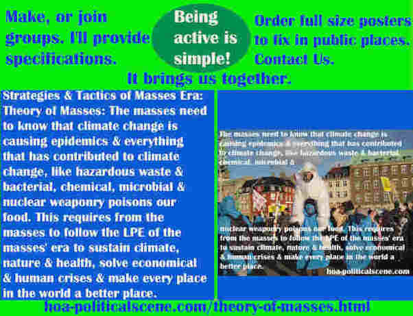 hoa-politicalscene.com/theory-of-masses.html - Strategies & Tactics of Masses Era: Theory of Masses: The masses need to know that climate change is causing epidemics.