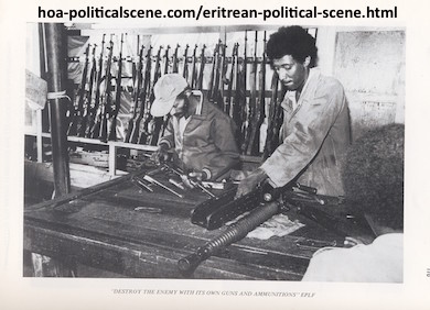hoa-politicalscene.com - Eritrean Political Scene: Eritrean EPLF fighters maintaining weapons acquired from the defeated Ethiopian army troops in 1975.