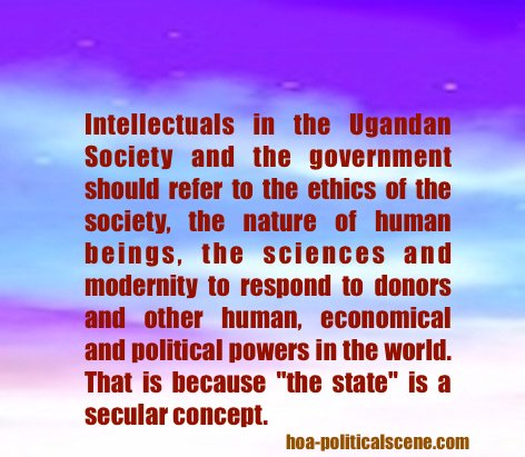 hoa-politicalscene.com - Uganda: The state should remain secular by referring to the ethics of the Ugandan society, the nature of human beings, the sciences and modernity.