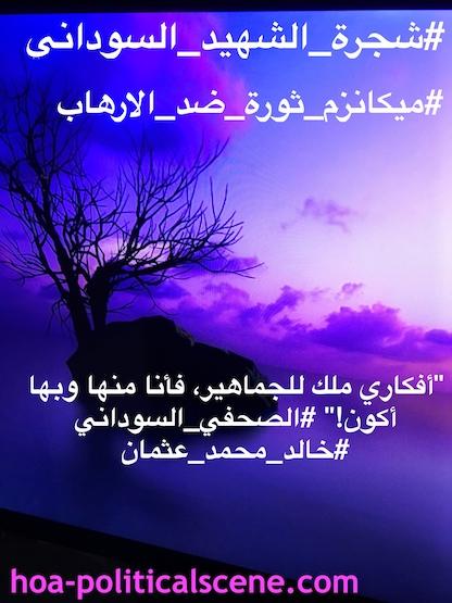 In eloquent Arabic language: The Sudanese Martyr's Tree will achieve planting millions of trees. باللغة العربية الفصحي، شجرة الشهيد السوداني ستنجز شتل ملايين الأشجار، كل شجرة باسم شهيد