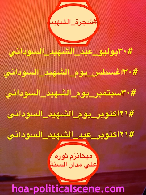 hoa-politicalscene.com/sudanese-martyrs-feast.html - Sudanese Martyr's Feast: Events planned by Khalid Mohammed Osman for individual martyrs' families as well as being a revolution mechanism.