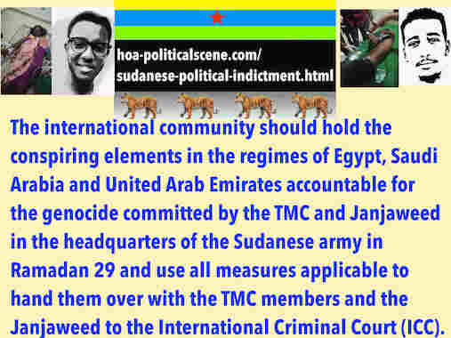 hoa-politicalscene.com/sudanese-political-indictment.html: Sudanese Political Indictment: إتهام سياسي سوداني. Khalid Mohammed Osman's political quotes English 1. أقوال سياسية لخالد محمد عثمان.