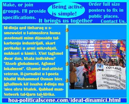hoa-politicalscene.com/ideat-dinamici.html - Ideat Dinamiċi: Id-dinja qed tinħaraq u s-smewwiet u l-atmosfera huma avvelenati minn dijossidu tal-karbonju industrijali, skart perikoluż u armi ...