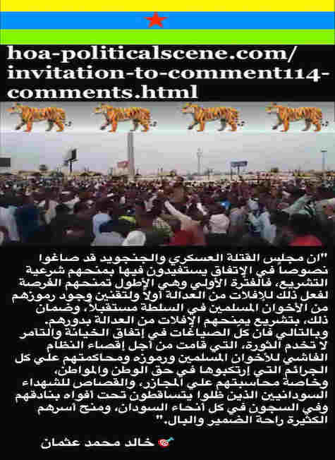 hoa-politicalscene.com/invitation-to-comment116-comments.html: Invitation to Comment 116 Comments: Political agreement between illegitimate Transitional Military Council & Power of Freedom & Change to establish governance structures and institutions in Sudan 110.