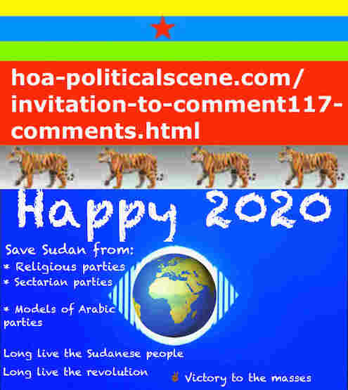 hoa-politicalscene.com/sudanese-nile-tweets.html: Sudanese Nile Tweets: on New Year 2020 by Sudanese columnist journalist and political analyst Khalid Mohammed Osman in English 807.