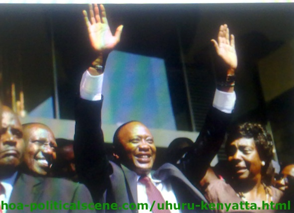 Uhuru Kenyatta Greeting His Followers after the Announcement of the Election Results
